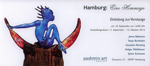 Hamburg, Eine Hommage — Ausstellung der Pashmin Art Gallery Hamburg mit Glaskunst von Gundula Menking