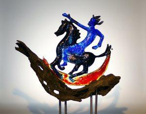 Mond-Reiter, Glasskulptur von Gundula Menking